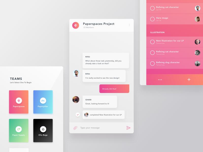 Team Chat + To Do chat app sidebar mobile gradient todo telegram slack team chat