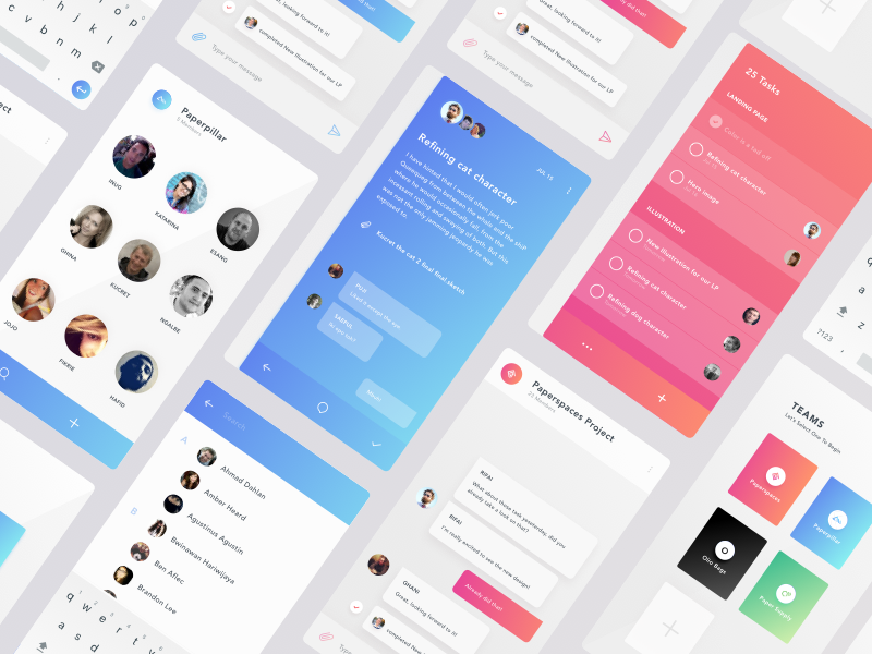 Team Chat + To Do task management task to do team chat team chat gradient mobile app mobile colors ui