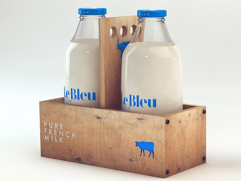 Le Bleu Lait milk packaging bottle blue bleu french