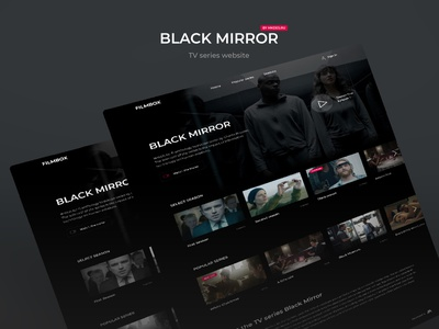 Black Mirros site design minimal web desktop clean black mirror netflix kino films black uxui uiux dailyui website cinema dark design webdesign