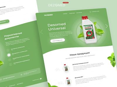 Dezomed medical design green ecology eco medical antiseptic branding website uiux webdesign clean