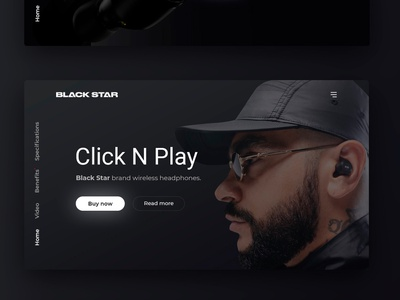 Black Star: ClickNPlay concept illustration desktop ecommerce creativity concept black redesign headphones branding concept clean ui  ux uiux ui branding timati bstar bs black star