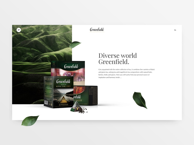 Tea Collection tea collection main page homepage promo page promo greenfield tea ui ux design web design concept