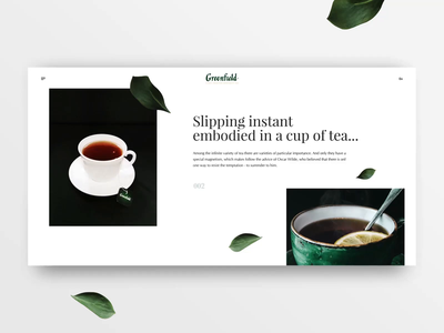 Concept animation transitions between screens tea cup animation slider slider greenfield tea motion animation main page homepage concept web design