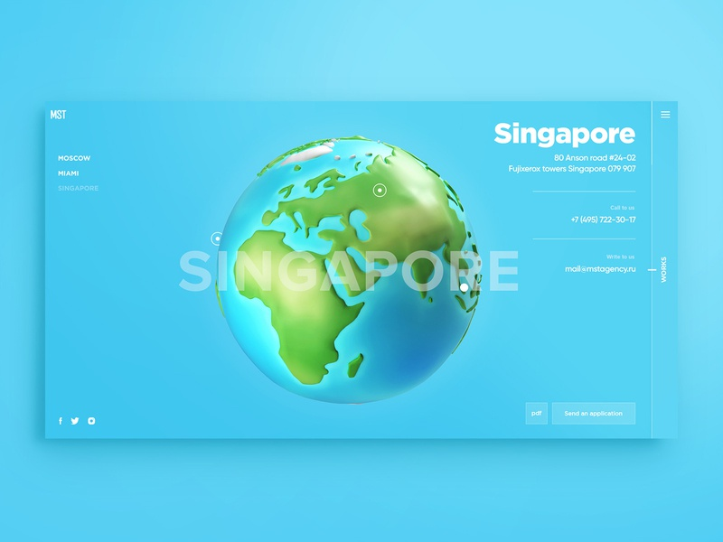 Interactive contact page contacts 3d planet planet earth planet map 3d agency contact page web design