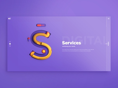 S— Services, 3D letters ui  ux design slider page design 3d letters creative agency creative agency 3d web design
