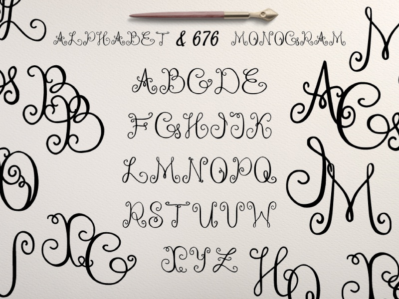 Monogram font handrawn ink curl font vector monogram