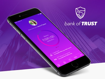 Bank of TRUST - iPhone App Concept omer ercan bank user interface ux ui visual design brand identity ipad iphone flat mobile app