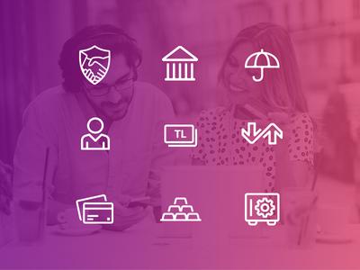 Bank iconography visual design app brand identity purple thin flat ux ui icon set iconography design bank icons