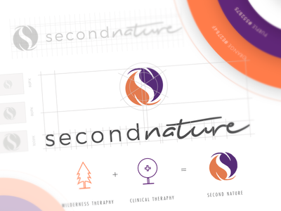 Second Nature Brand Identity logo grid logo design process brand identity logo creation wilderness second nature purple orange logo mark color palette logo design brand identity guide