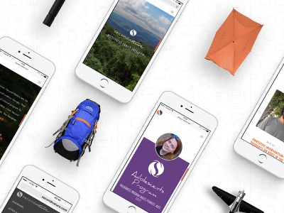 Second Nature Mobile Web Screens brand identity wilderness theraphy orange purple responsive layout resposive mobile ux ui second nature