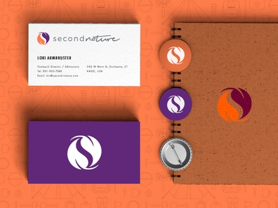 Second Nature Corporate Identity pin badge second nature business cards ui ux wilderness theraphy orange purple corporate identity brand identity