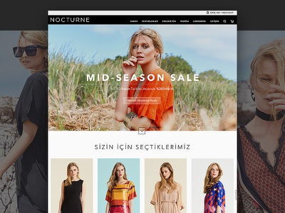 Fashion UI brand identity branding visual design usability nocturne landing page ui fashion website