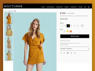 Fashion Product Page ux design model npocturne textile buy orange turquoise fashion website product detail ui