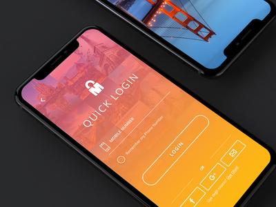 Travel Mobile App Login screen visual design login screen intuitive modern orange pink gradient ux ui app mobile design