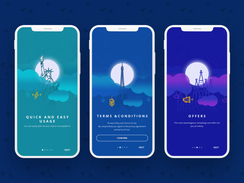 Onboarding Illustrations Travel App brand identity ibm design onboarding travel industry ui mobile app design branding visual design illustration