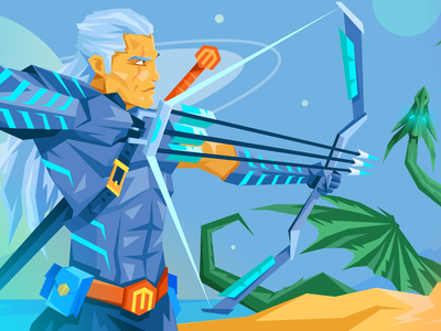 Witcher Atwix Blog Illustration sword planet space flat magento atwix illustration arrows fantasy character dragon witcher