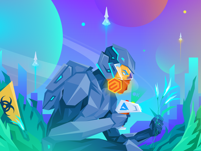MageNews Illustration March 2020 neon rocket ecommerce atwix sci-fi space character illustration e-commerce