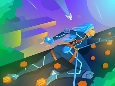 Future Bouldering 2020 cyberpunk city hiking climbing bouldering neon future space character magento atwix