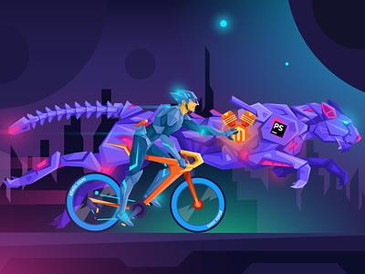 Atwix PHP Storm Plugin Illustration night cycling bike tiger cheetah cyberpunk neon future storm php magento atwix