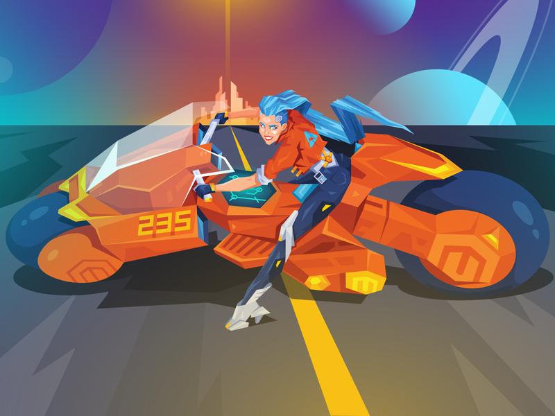 AkirAtwix Illustration city akira female space bike cyberpunk neon future character magento ecommerce atwix