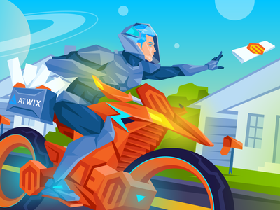 Atwix MageNews June road neighborhood newspaper space future character bike delivery magenews ecommerce magento atwix
