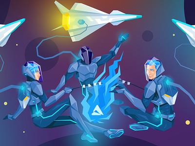 Atwix Space Camp austronaut spaceship trip fire camp cyberpunk neon future space ecommerce atwix
