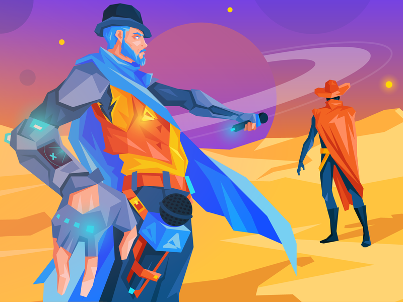 Cyberwest Interview character space neon spaceship cowboy western west cyber commerce ecommerce adobe magento
