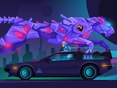 Atwix Dark DeLorean car race cyber futurism cyberpunk neon future space sci-fi backtothefuture dmc delorean ecommerce magento atwix