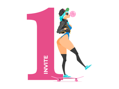 Invite Giveaway bubble gum female ride skater skate character free away give giveaway invites invite dribbble