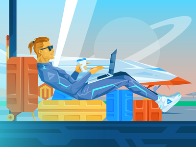 Magento News August Illustration starship future magento space atwix e-commerce flat character illustration ecommerce