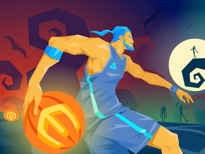 October's Magento News Illustration player flat zombie pumpkins halloween basketball character illustration 2 atwix