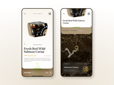 Supply Chain Tracking and Visibility app app design wholesale retail food manufacturing farm iot package caviar location service map product page supply chain product design app