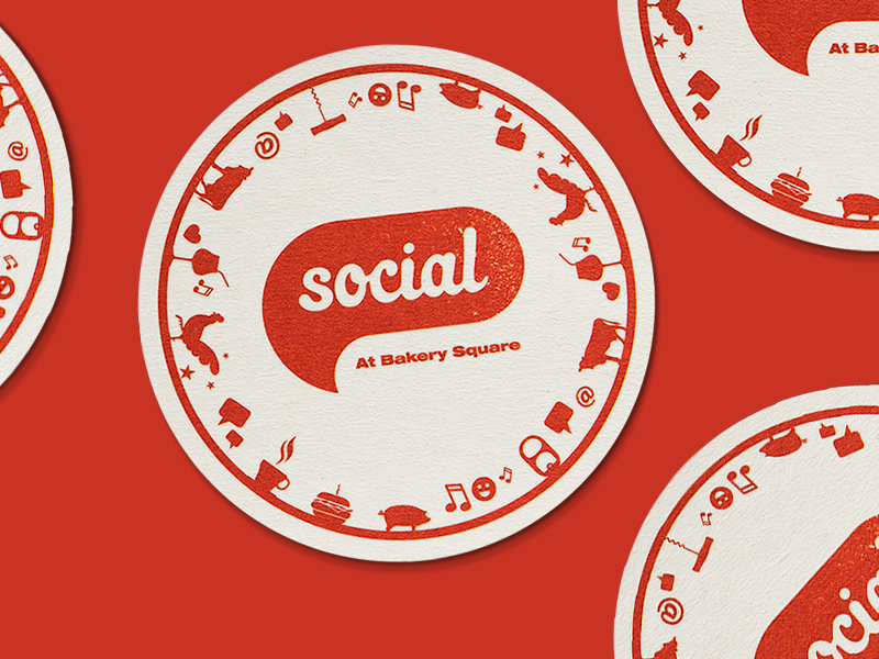 Social Coasters pgh coaster social type illustration mark logo identity branding pittsburgh actual size