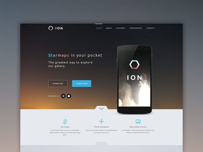 ION onepage app promotion smartphone website webdesign one page landingpage landing page