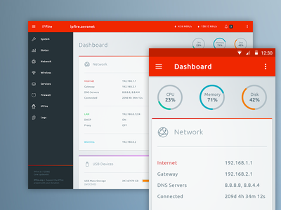 IPFire Redesign Concept admin interface material design dashboard ipfire webdesign android mobile responsive