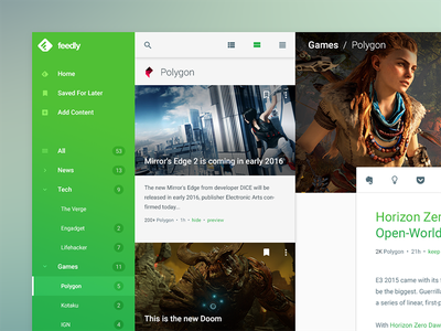 feedly Redesign Concept feed rss reader material design rss-reader rss redesign feedly