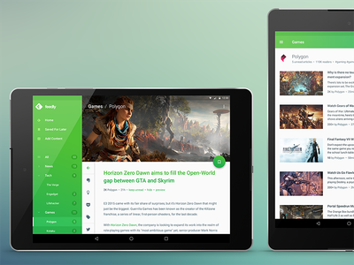 feedly Redesign Concept @ Nexus 9 android mobile feed feedly redesign rss rss-reader material design rss reader