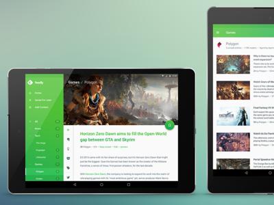 feedly Redesign Concept @ Nexus 9