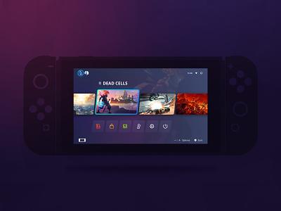 Switch UI Redesign Concept homescreen concept redesign purple interface game dark ui switch nintendo