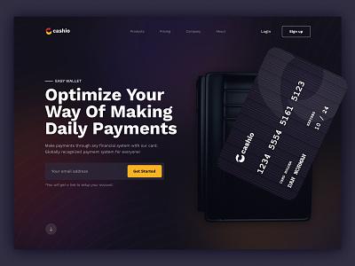 Cashio - Payment System financial bank money wallet design concept hero ui uiux web website paymentsystem payment credit card