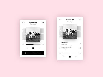 Practice #1 - Minimalist Player 1/2 macos flat song player music simple ux ui minimalist