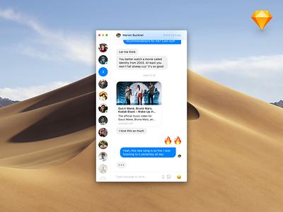 Minimalist Messenger Light sketch file light ui minimalist desktop texts conversation chat app message chat messenger
