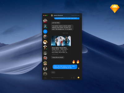 Minimalist Messenger Dark ui texts sketch file minimalist messenger message dark desktop conversation chat app chat