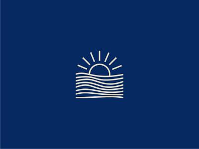 Sunset ocean sun icon logo sunset