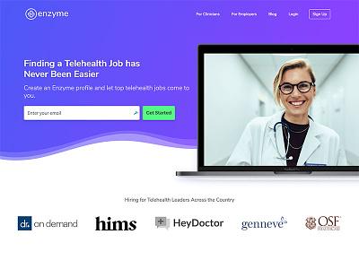Enzyme Home marketing site hero homepage ui web design