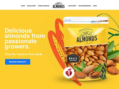 Eat Almonds navigation website hero