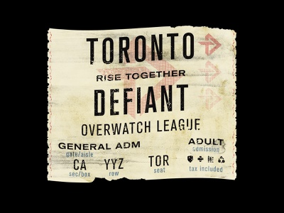 Toronto Defiant Ticket merch design merch tshirt design apparel design theconsciousbum.com orlando florida the conscious bum overwatch league overwatch music vintage retro ticket defiant toronto