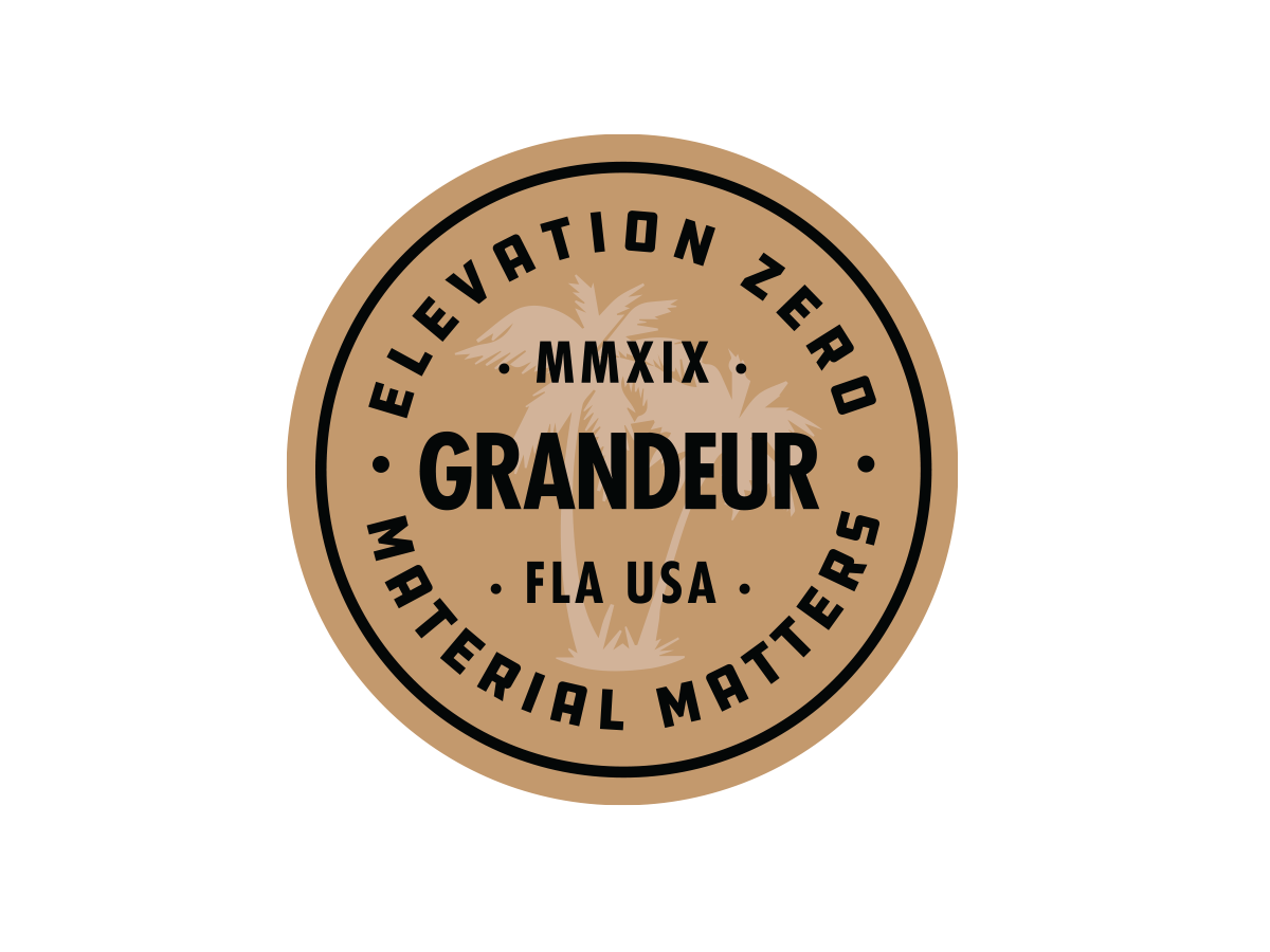 Grandeur - Elevation Zero nhammonddesign nickhammonddesign.com nick hammond material matters palm tree elevation zero coaster sticker grandeurhats.com grandeur hats grandeur