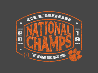 Clemson National Champs florida orlando nickhammonddesign.com nhammonddesign nick hammond design nick hammond lsu throwback vintage college football cfp national champs tigers